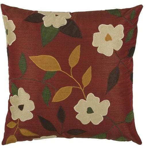 "T-2970 18"" Decorative Pillow in Burgundy (Set of 2) modern-decorative-pillows"