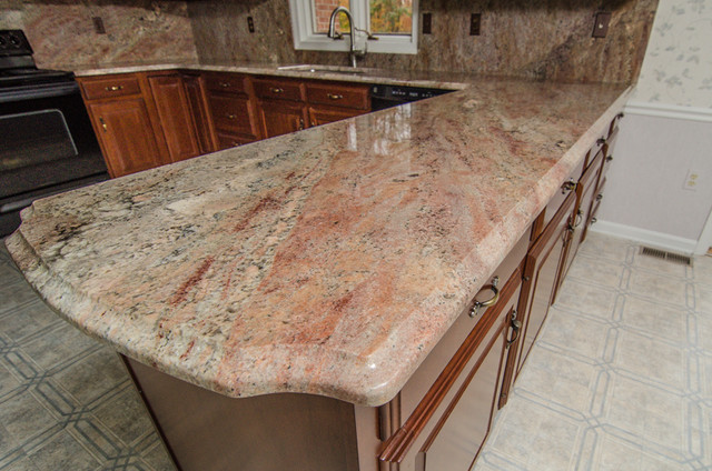 Crema Bordeaux Granite With Full Backsplash Traditional