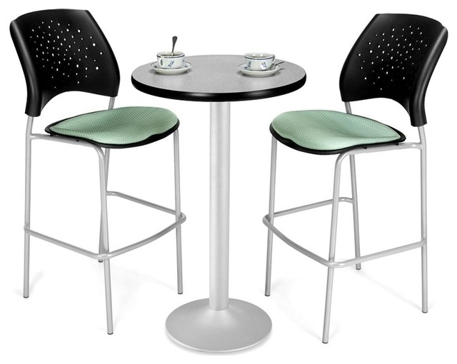 24 in Round Cafe Table & 2 Padded Seat Chairs 3 Pc Set