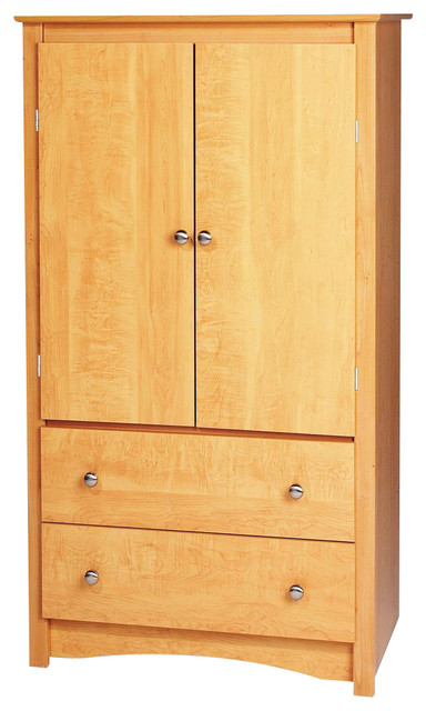 Prepac Sonoma Maple 2-Drawer Armoire traditional-dressers-chests-and-bedroom-armoires