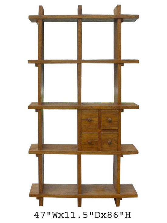 Tall Thick Elm Wood Multiple Shelves Display Cabinet - On SALE