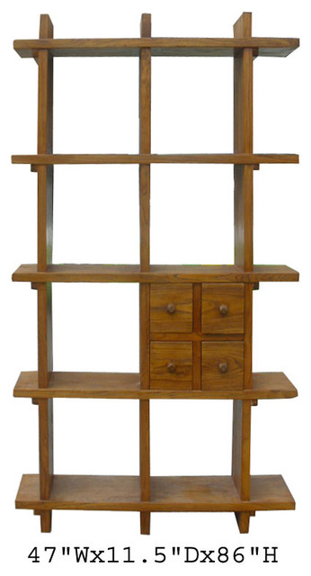 Tall Thick Elm Wood Multiple Shelves Display Cabinet ...