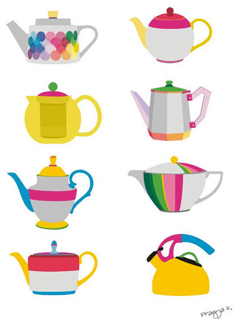 Teapots Print by Artocrat contemporary artwork