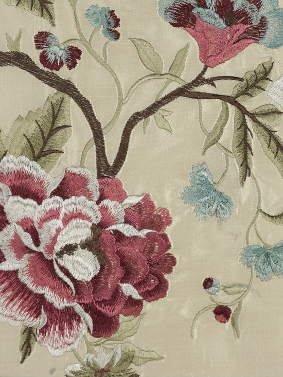 Embroidered Camellias Dupioni Silk Custom Made Curtains -