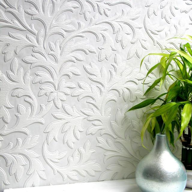 Anaglypta High Leaf Paintable Textured Vinyl Wallpaper