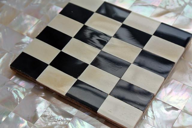 horn tile checkered black and white tiles modern tile london by shellshock designs. Black Bedroom Furniture Sets. Home Design Ideas