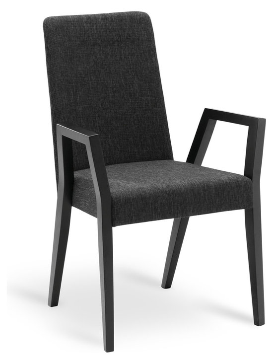 Bryght - Melvie Liquorice Fabric Upholstered Ebony Dining Armchair - Add a fun twist to a modern or a traditional dining table with the Melvie dining armchair. Modern clean lines define the stand out leg design which alternates as a comfortable resting spot.