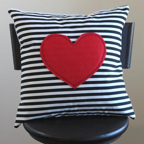 Red Heart Decorative Pillow : Red Heart Pillow Cover Black and White Striped by 645 Workshop - Modern - Decorative Pillows ...