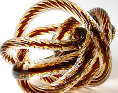 Large Glass Rope Knot/Burgundy contemporary accessories and decor