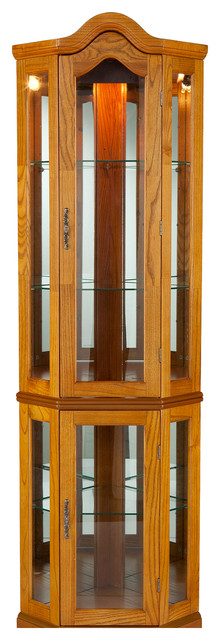 Riley Lighted Corner Curio Cabinet, Golden Oak - Traditional - Storage Cabinets - by Shop Chimney