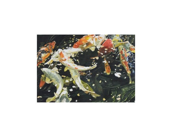 "Lot 237:  Wilda Northrop, ""Koi and Confetti"" watercolor - Lot 237: WILDA NORTHROP (AMERICAN, 1940- )"