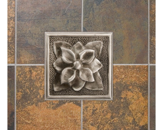 Color! - Add this aluminum wall tile to your bath or kitchen for a charming accent. It features a beautiful dogwood flower design and is offered with an optional tile frame.