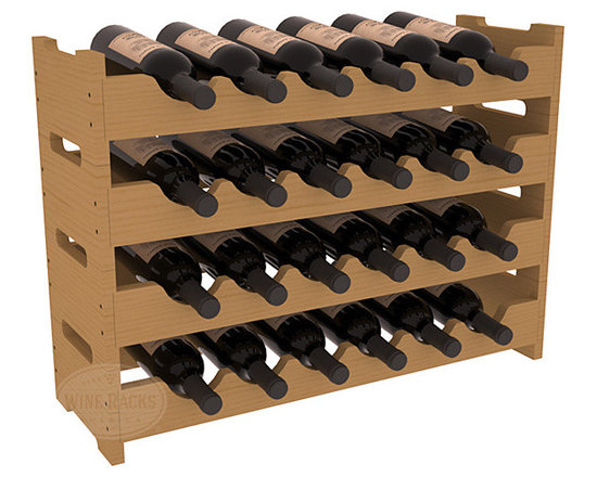 Wine Racks America - 24 Bottle Mini Scalloped Wine Rack in Pine, Oak Stain - Stack four 6 bottle racks with pressure-fit joints for proper storage of 24 wine bottles. This rack requires no hardware for assembly and is ready to use as soon as it arrives. Makes the perfect gift and stores wine on any flat surface.