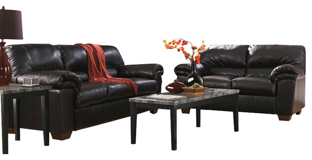 Signature Design By Ashley Commando Living Room Set In Black Leather Contemporary Sofas