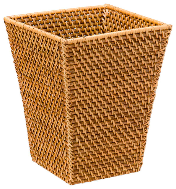 Square Waste Basket in Rattan, Honey-Brown contemporary waste baskets
