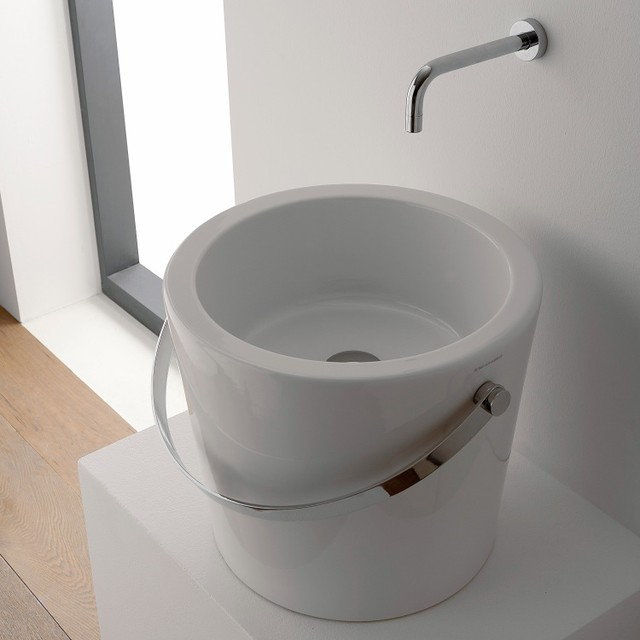 Unique Round White Bucket Ceramic Vessel Sink by Scarabeo contemporary ...