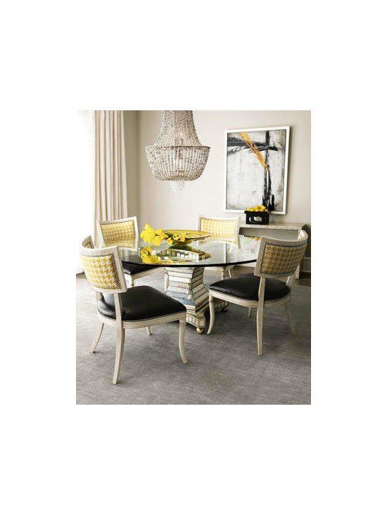 """""""Erlinda"""" Dining Table & """"Calvin"""" Chair - Contemporary dining furniture captures attention with golden-yellow houndstooth pattern on chair backs."""