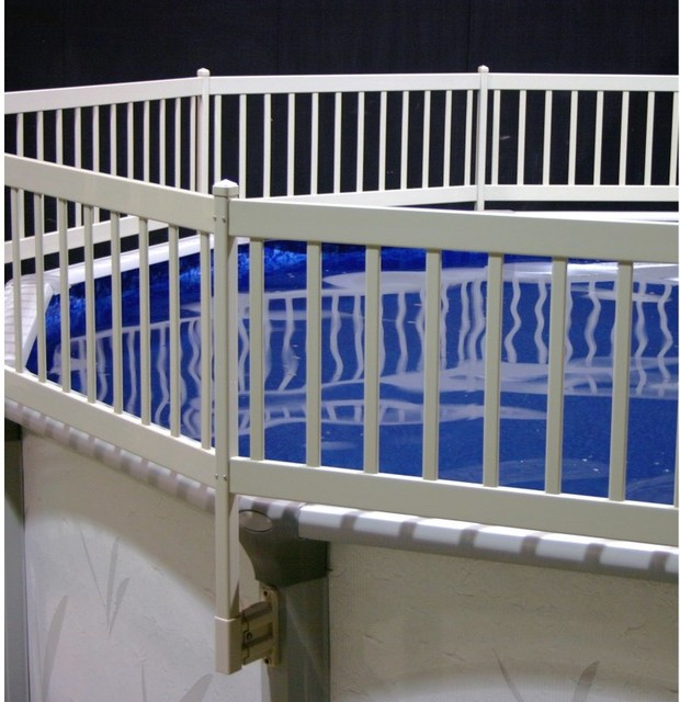 Vinyl works above ground pool fence kit taupe ne1331 for Above ground pool vinyl decks