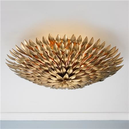 Extra Large Olive Leaf Ceiling Chandelier Gold Eclectic Flush Mount Ceiling Lighting By