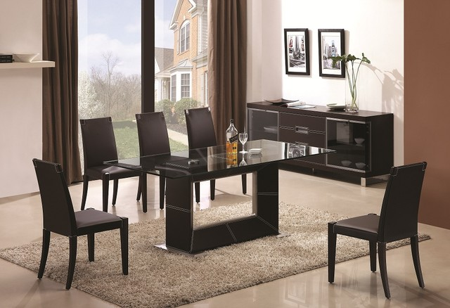 Wooden And Clear Glass Top Leather Modern Dining Set Contemporary