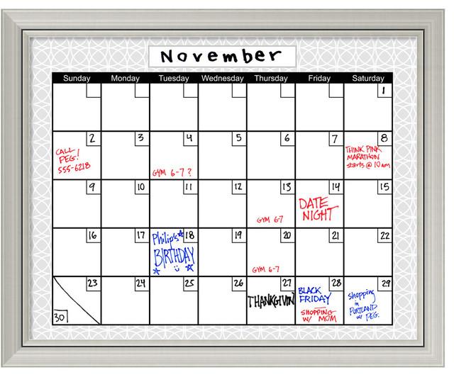 Dry Erase Calendar Boards : Calendar framed dry erase board medallion grey