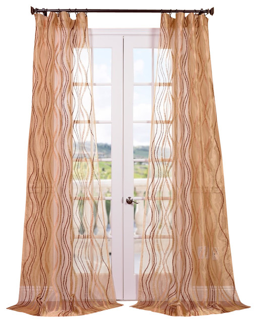Alegra Gold Embroidered Sheer Curtain contemporary-curtains