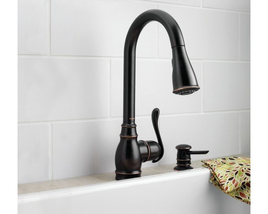 Moen Anabelle Mediterranean bronze one-handle high arc pulldown kitchen faucet - The graceful design of the Anabelle™ family will add an elegant touch to any home.