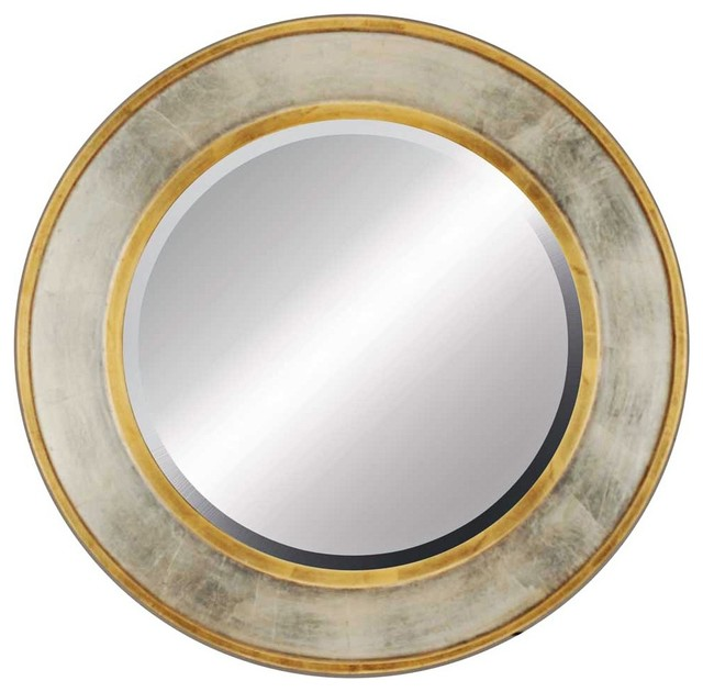 Contemporary contempo gold and silver 34 round beveled for Round silver wall mirror
