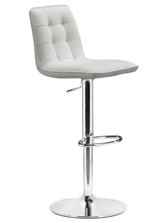 Zuo Modern - Zuo Oxygen Barstool in White - Barstool in White belongs to Oxygen Collection by Zuo Modern Ajdustable with button and tufting, the Oxygen is a breath of life to any bar, kitchen counter, or display stand. It has a chrome base and is fully wrapped in a washable leatherette. Barstool (1)