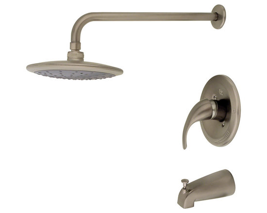 MR Direct 750-bn Brushed Nickel 3-Piece Rain Head Shower Set - The 750 3-Piece Rain Head Shower Set is an ADA approved shower set that is available in a brushed nickel, oil-rubbed bronze or chrome finish. This set has a limited temperature stop that prevents scalding when there is a change in water pressure. The 750 is pressure tested to ensure proper working conditions and is covered under a lifetime warranty. The rainfall spray head will create a relaxing experience that you will look forward to enjoying daily.