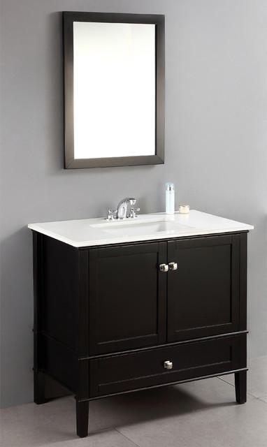 Windham black 36 inch bath vanity with 2 doors bottom for Bathroom vanities massachusetts