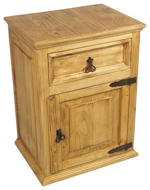 Mexican Pine Nightstand - 1 Drawer & 1 Door - traditional