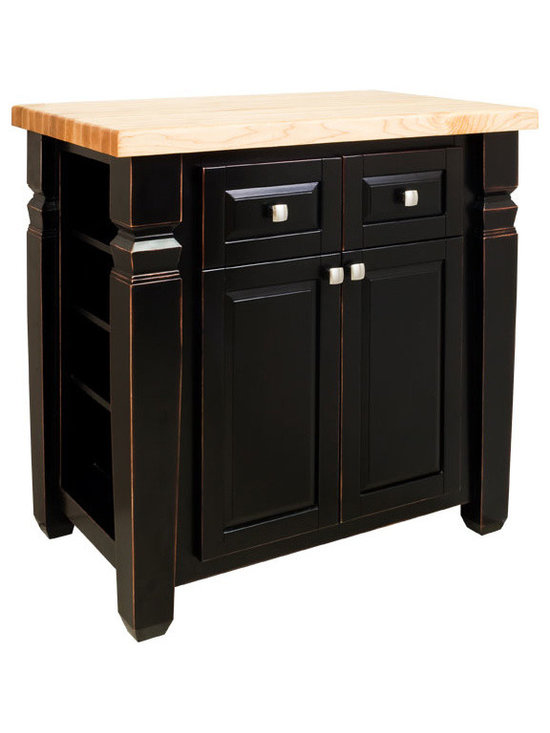 """Inviting Home - Boston Kitchen Island Cabinet (antique black) - Boston kitchen island cabinet in antique black finish; 34"""" x 22"""" x 34-1/4""""; 1-3/4"""" hard maple butcher block top sold separately; This furniture style kitchen island with adjustable shelves on both ends is manufactured using the highest quality furniture grade hardwoods and MDF. The kitchen island features two deep working drawers and large cabinet with adjustable shelf on one side and blank panel on the reverse. Drawers are dovetail solid hardwood and are mounted on undercount full extension soft close slides and the cabinet features integrated soft close hinges. Decorative hardware is included with this item. Distressed Black finish is applied by hand. Hard maple edge grain Boston butcher block top sold separately."""