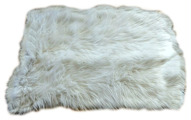 Traditional shaggy faux fur area rug warm off white for Fur rugs