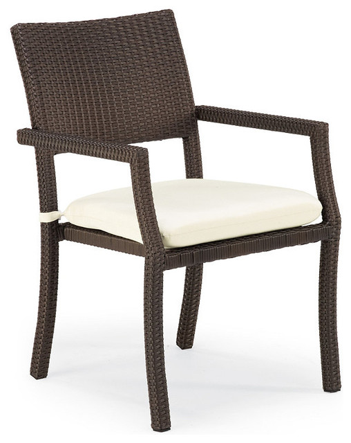 Outdoor Set Of Four Cafe Square Back Stacking Chairs