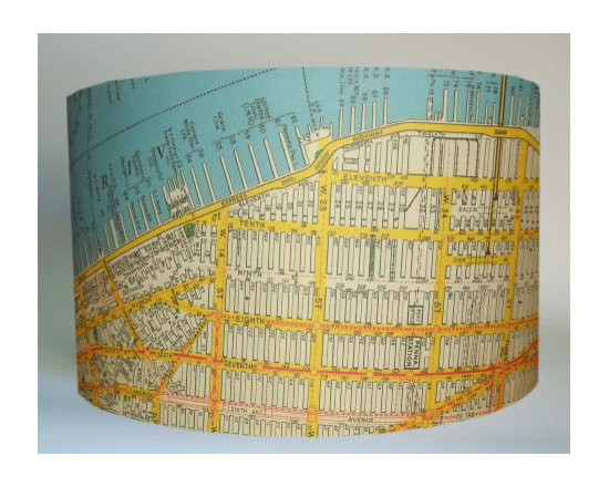 Vintage New York Map Lampshade -