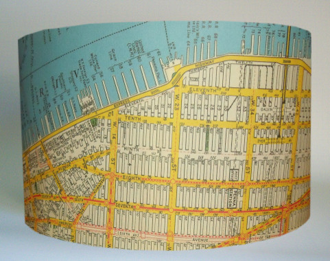 Vintage New York Map Lampshade eclectic-lamp-shades