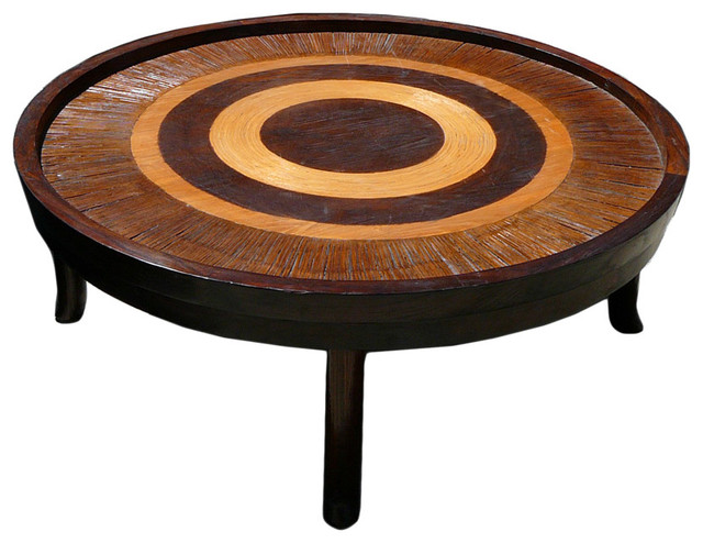 Oriental round shape bamboo rattan wood coffee table eclectic coffee tables by golden Rattan round coffee table