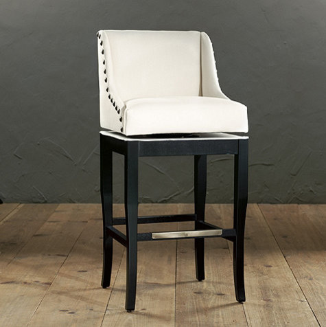 Marcello barstool with brass nail head trim traditional bar stools and counter stools by - Leather bar stools with nailhead trim ...