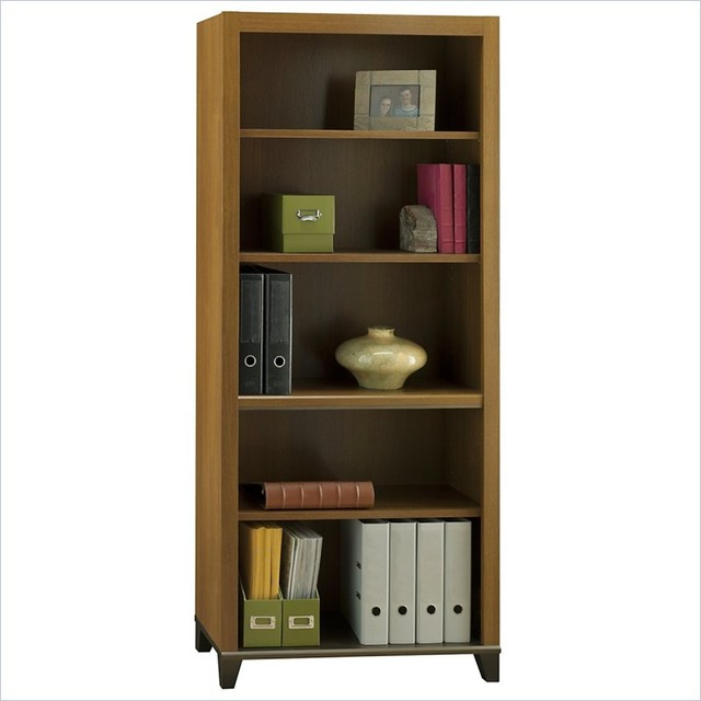 Bush Achieve 5-Shelf Bookcase with Adjustable Shelves in Warm Oak transitional-bookcases