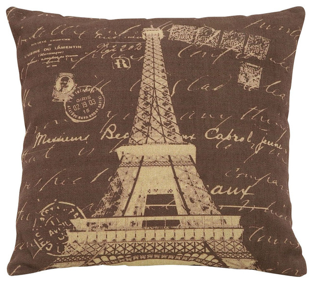 Brown Pillow With Paris Eiffel Tower Theme - Traditional - Bed Pillows - by Modern Furniture ...