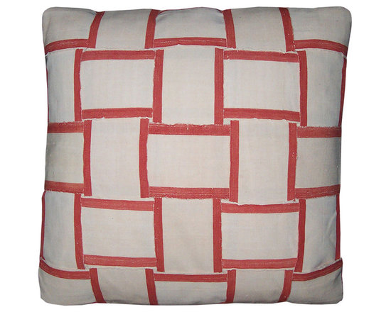 Pair of Strip Weave clectic Pillows - High-end Custom and Ready made pillows available on-line. A Pair of Artisanaware Pillows Weaving  African Narrow Strip Weave Cloth to Form a Basket Weave Pattern.   A Meandering Woven Stripe of Vintage Cotton Fabric, Makes up the Pillow Backs.  Couture Custom Workroom Services Available. Artisanaworks