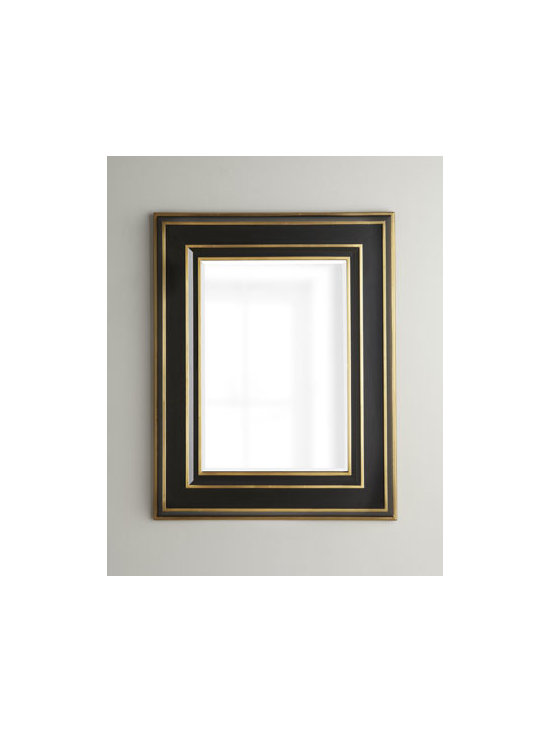 Horchow - Mid-Century Mirror - A mirror is intrinsically neutral, neither traditional nor contemporary, and blends well in any interior. It can give the illusion of depth to a flat wall or even make the wall seem to disappear. With its impressive ebony- and gold-finished frame, this....