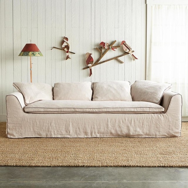 Harper Slipcovered Sofa Traditional Sofas by