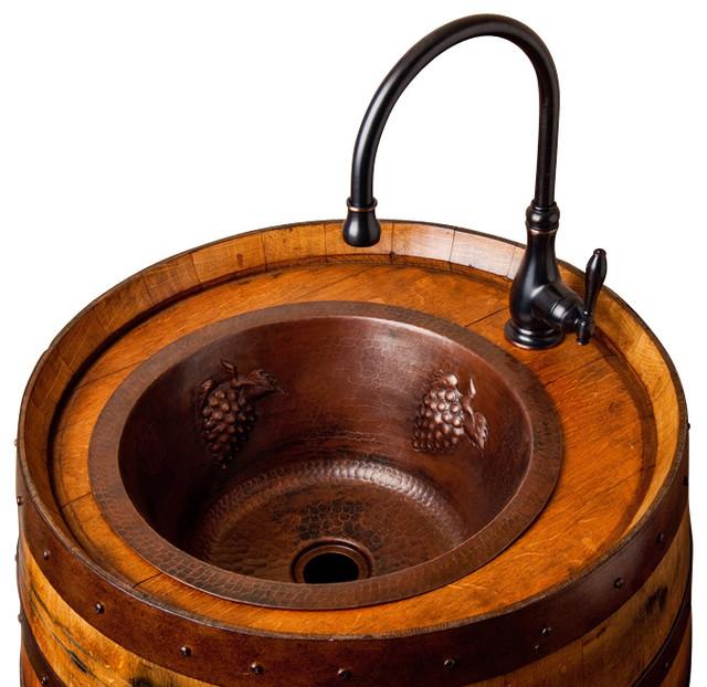 Wine Barrel Bar Sink - Rustic - Bar Sinks - by Alpine Wine Design