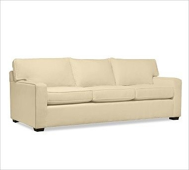PB Square Upholstered Sofa, Polyester Wrap Cushions, Brushed Canvas Honey traditional-sofas