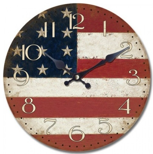 14 in. Circular Wooden Wall Clock with American flag print contemporary-wall-clocks
