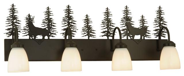 "Meyda Lighting 126281 33""W Deer Through the Trees 4-Light Vanity Light traditional-bathroom-lighting-and-vanity-lighting"