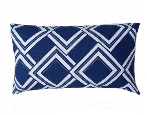 Duralee Esquire Navy Trellis Geometric Pillow decorative-pillows