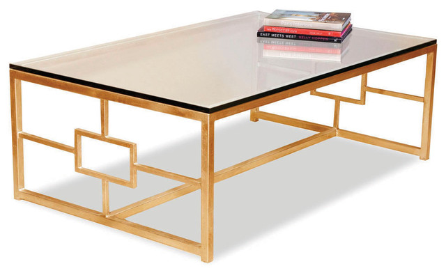 Somrig Contemporary Antique Gold Leaf Boutique Coffee Table Contemporary Furniture New